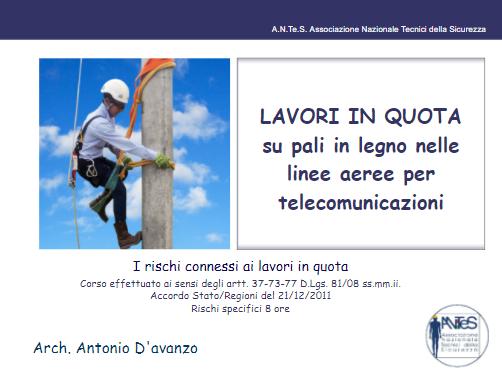 Lavori in quota su pali in legno nelle linee aeree per telecomunicazioni